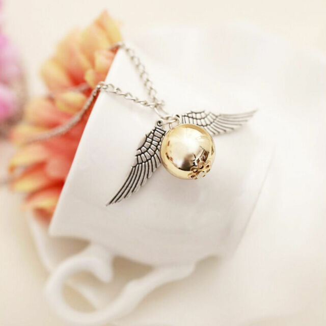 Silver Snitch Necklace, New quirky Harry Potter jewelry,  Angel Wings Pendant