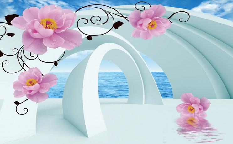 Papel Vellón Pintado Mural De Vellón Papel Rose Diseño Creativo 3 Paisaje Fondo De Pantalla ebcd23