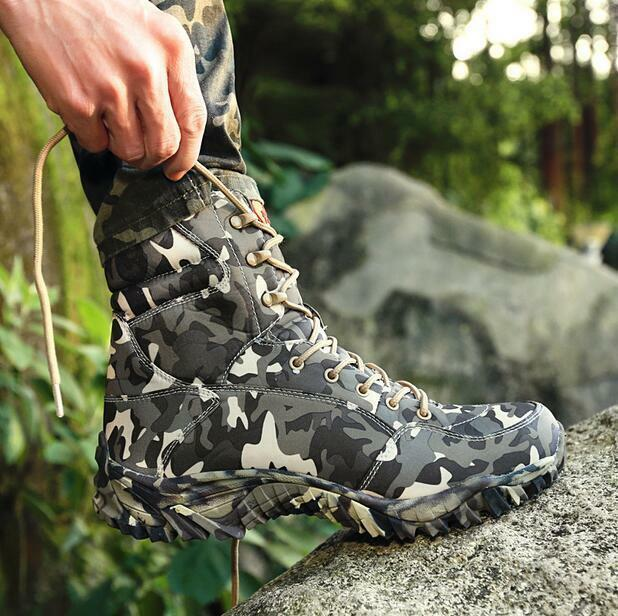 Men Camo Army Force Military Tactical Combat Shoes Lace Up Desert Ankle Boots SZ