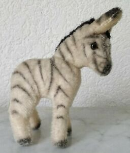 Old-Zebra-Burchell-039-s-Mohair-Glass-Eyes-Vmtl-Steiff-Zebre-Sebra-Seepra-5-1-2in