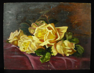 Marie-Fournier-Mass-Oil-on-Cardboard-c1930-Bouquet-de-Roses-35-27cm-Flowers