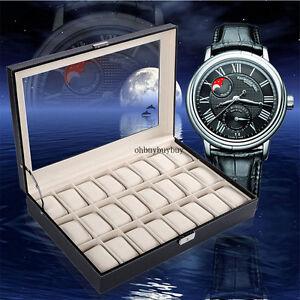 24 Slot Watch Display Holder Leather Box Glass Jewelry Storage Case Organizer
