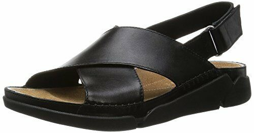 06f641061207 Clarks Womens Tri Alexia Casual Black Leather Sports Crossover Strap Sandals