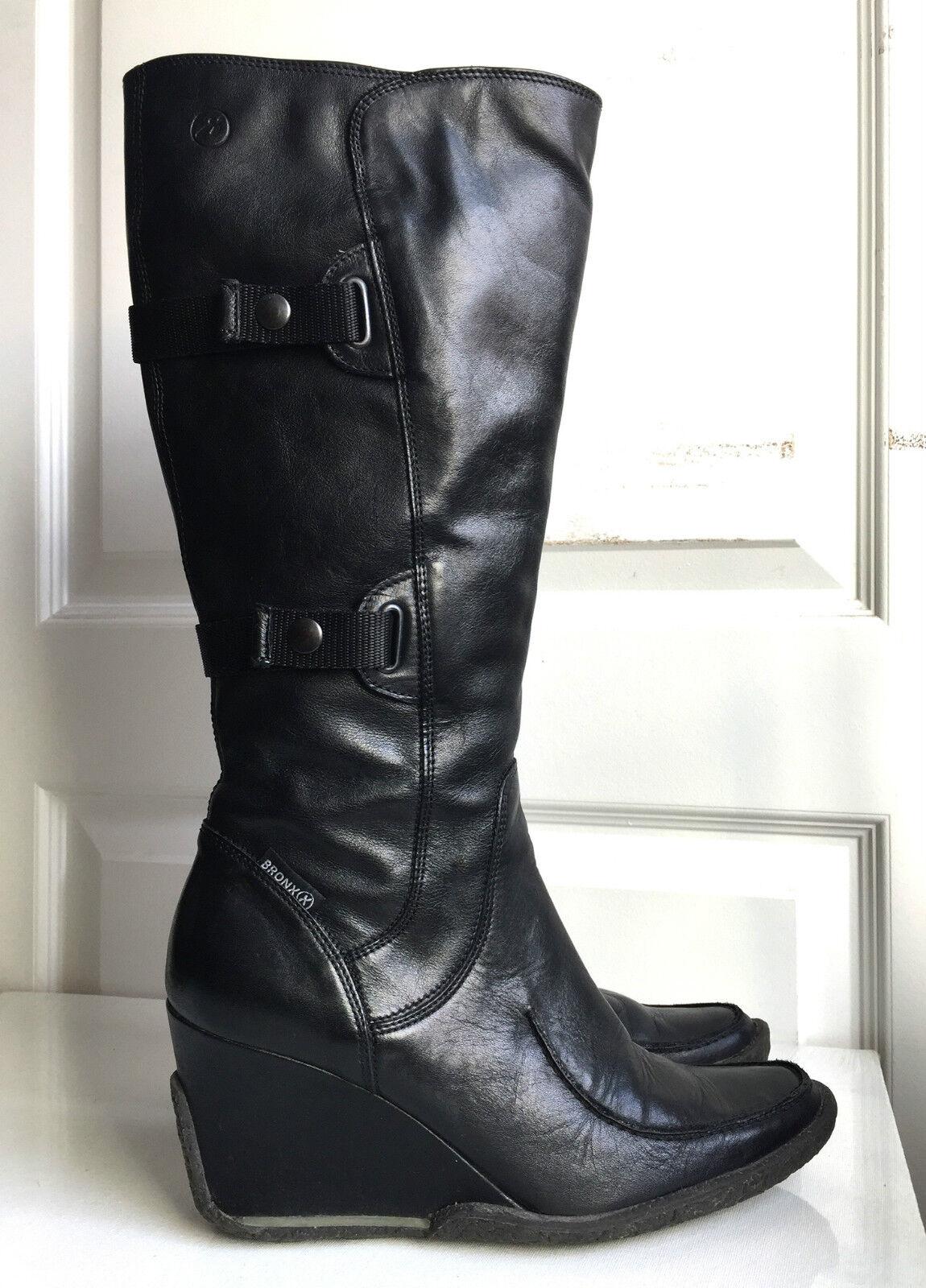 Bronx schuhe Damens's April schwarz Leder wedge boots Größe 39