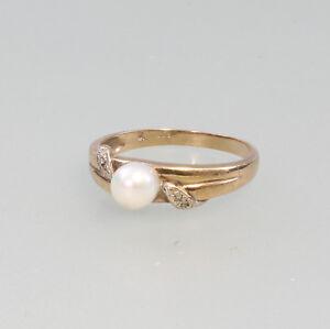 8325058-333er-Gold-Ring-mit-Zuchtperle-Gr-56