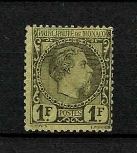 MONACO-STAMP-YVERT-9-034-PRINCE-CHARLES-III-1F-BLACK-ON-YELLOW-1885-034-MH-F-V221
