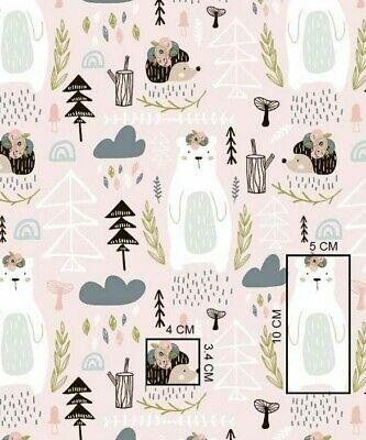 Raccoon forest blue kids nature 100/% Cotton printed fabric kids new FQ half