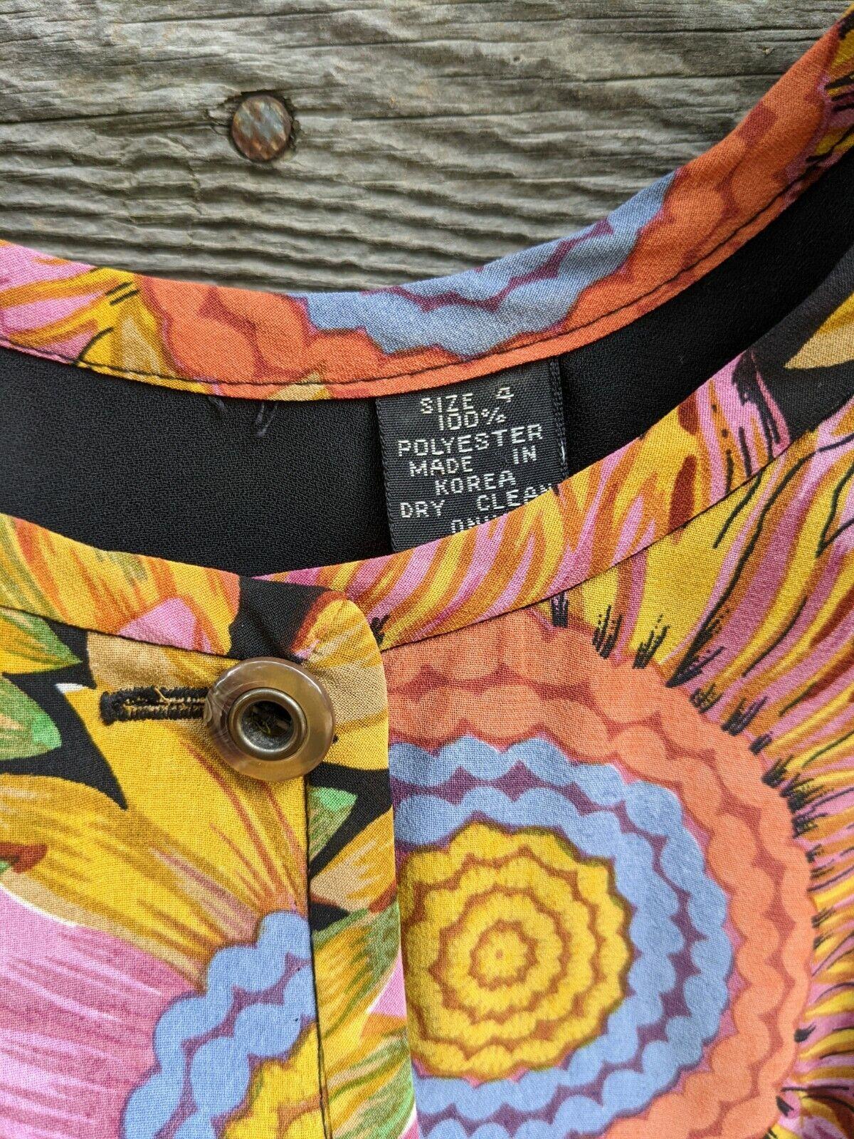 Vtg 90's Midi Dress Sunflowers RARE! Sundress Flo… - image 12