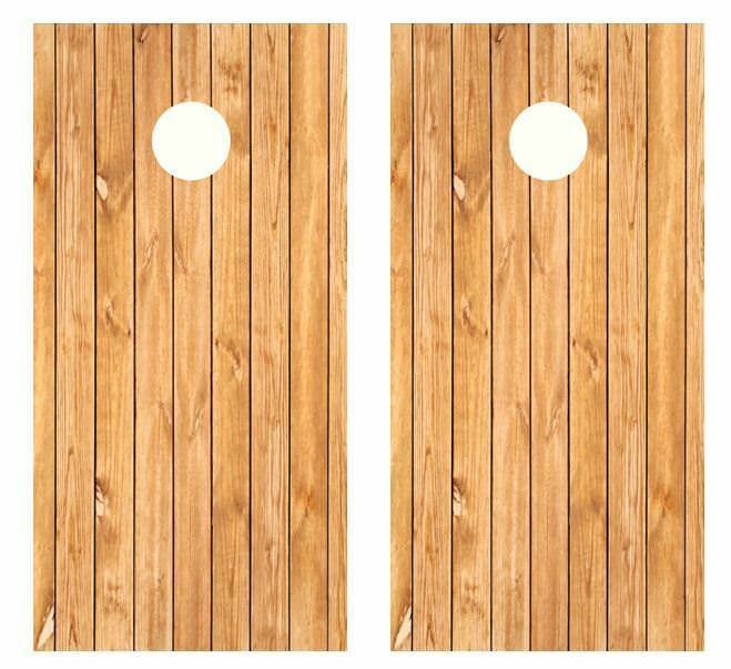 Light Wood Cornhole Board Wraps FREE SQUEEGEE