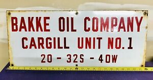 """Vintage BAKKE Oil Company Gas Oil Well Lease Cargill 24"""" Porcelain Metal Sign"""