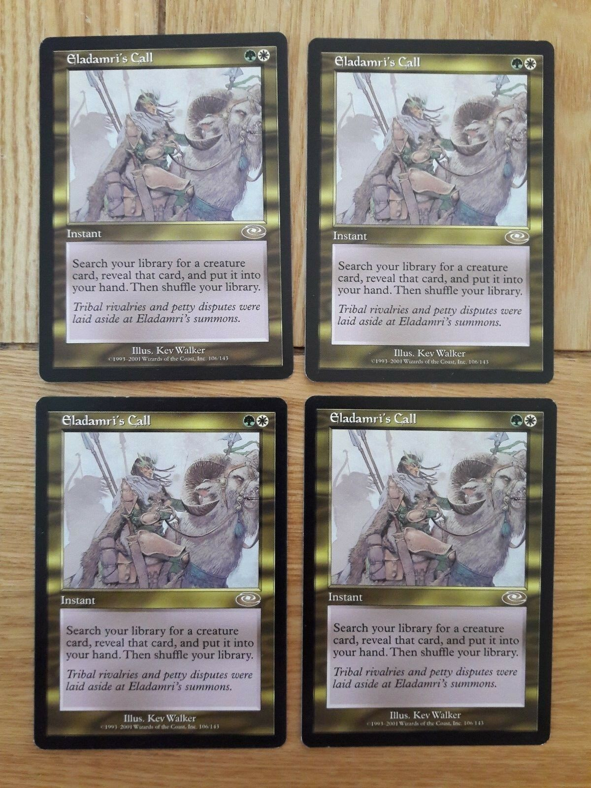 Magic the gathering karten - planeshift - eladamri nennen, 4 x 4.