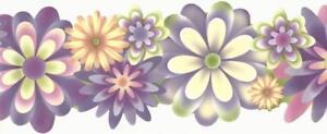 Wallpaper-Border-Flower-Power-Lavender-Pink-Green-Orange-Yellow-Double-Die-Cut