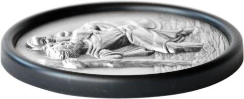 Santo Sankt St Christophorus 3d en relieve placa emblema 7 cm