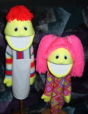 "Blacklight Yellow Boy & Girl  Puppet Set-13"" tall-Ministry, Teachers, Christian"