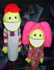 """Blacklight Yellow Boy & Girl  Puppet Set-13"""" tall-Ministry, Teachers, Christian"""