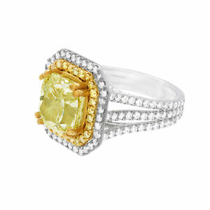Details About 2 Tone 4 50 Carat Cushion Cut Gia Fancy Yellow Diamond Engagement Ring In 18k