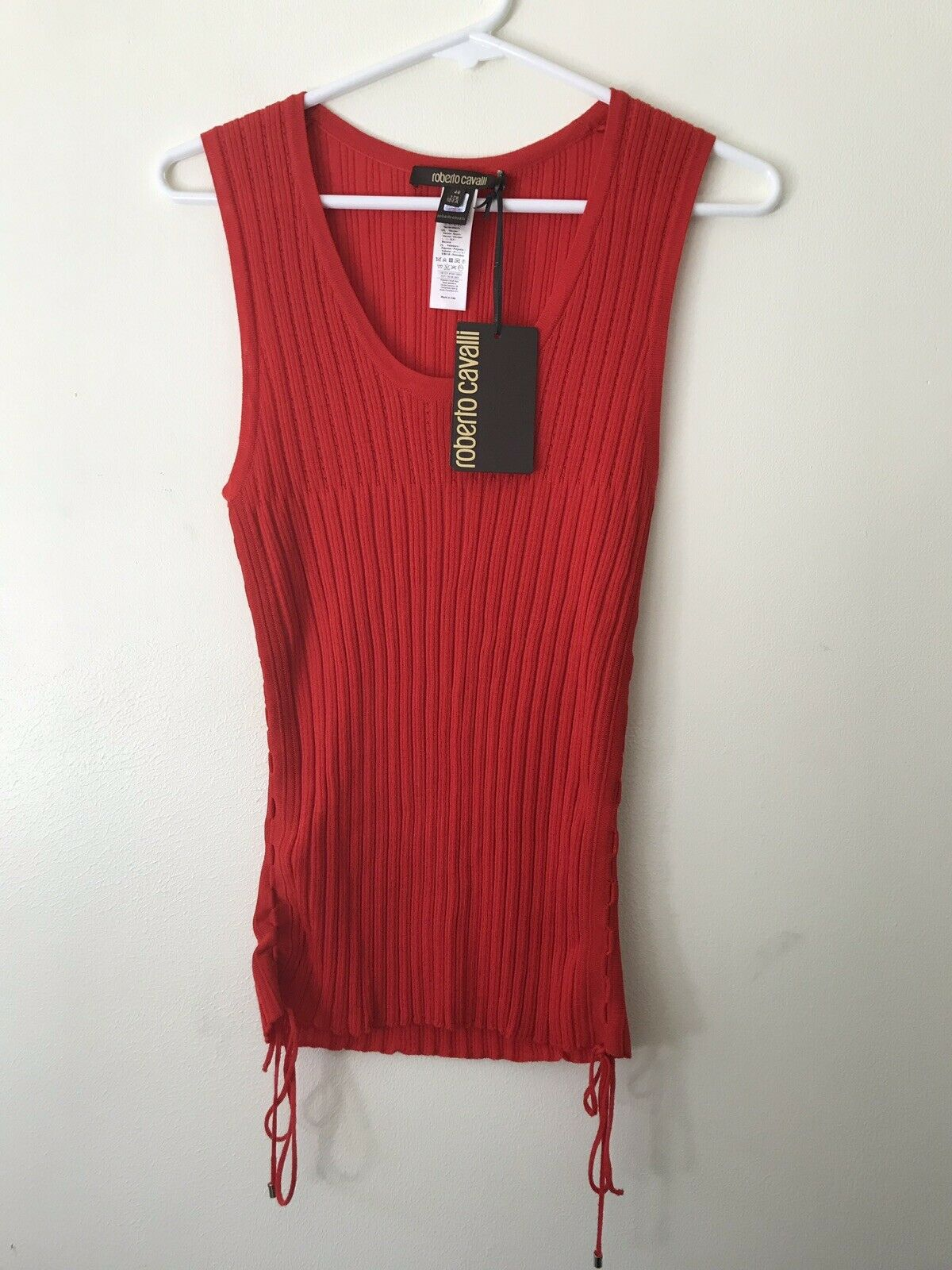 NWT  Roberto Cavalli Red Ribbed Lace- Up Top Tank Sz 46