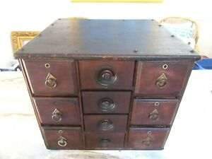 ANTIQUE-WALNUT-APOTHECARY-CABINET-CHEST-CUPBOARD-COUNTRY-BRASS-DRAWERS-PRIMITIVE