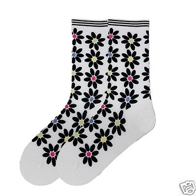 K.Bell Black Walking Paw Prints Catwalk Cotton Blend Ladies Crew Socks New