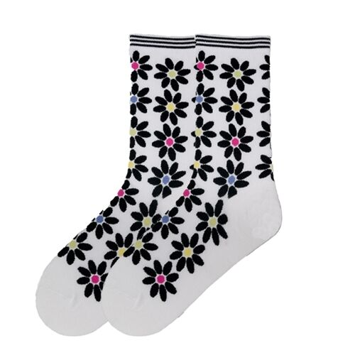 K.Bell Colorful Black Daisys White Floral Womans ladies Crew White Socks New