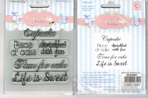 SENTIMENTS CLEAR RUBBER STAMPS x 5