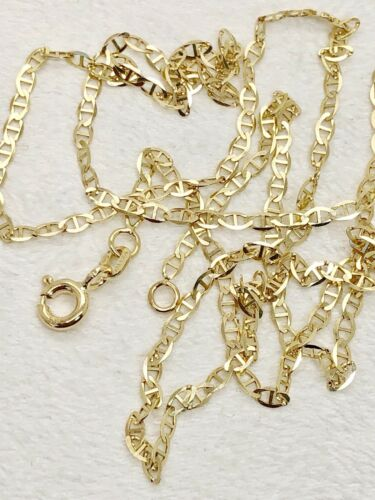"""Unisex 14k Solid Yellow Gold 2 MM 18/"""" Flat Anchor Mariner Link Chain Necklace"""