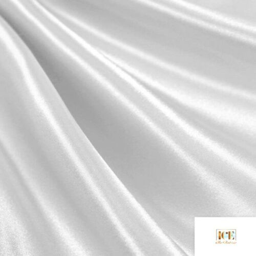 "White/_ Charmeuse Medium High Quality Satin Fabric Sold by The Yard/_ 60/"" Width/_"