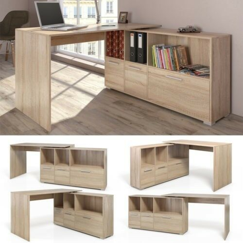 modern oak l shaped desk corner desks study 3 compartments storage rh ebay co uk corner desk with storage oak effect corner desk with storage drawers