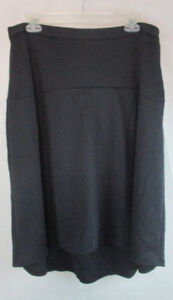 NY-COLLECTION-Women-s-A-Line-Skirt-Sz-Large-Solid-Black-Stretch-New-P619