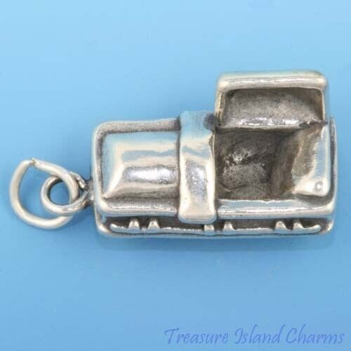 VAMPIRE Cercueil lourd 3D 925 Solid Sterling Silver Charm halloween made in USA