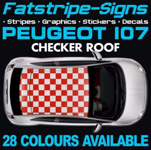Peugeot 107 Checker toit Graphique rayures autocollants stickers vinyl GTI Pug 1.0 1.4