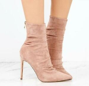 3f1217b6f6c Details about Women s Ankle Boots Back Zip Heels Stiletto Suede Pink Pointed  Toe Shoes Party