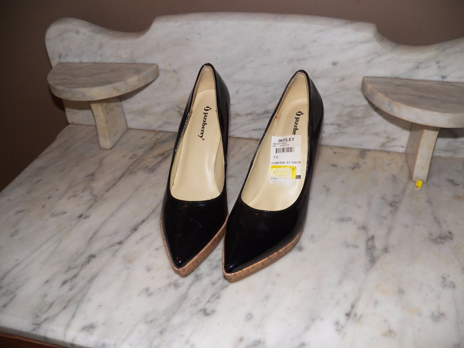 NWOB JAZZBERRY BLACK PATENT LEATHER LEATHER LEATHER CLASSIC STILLETO HEELS STACKED FRONT SZ 7.5 177a71