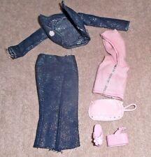 BARBIE DOLL CLOTHES - SPARKLY DENIM CAPRI & JACKET, PINK HOODIE, SHOES, PURSE