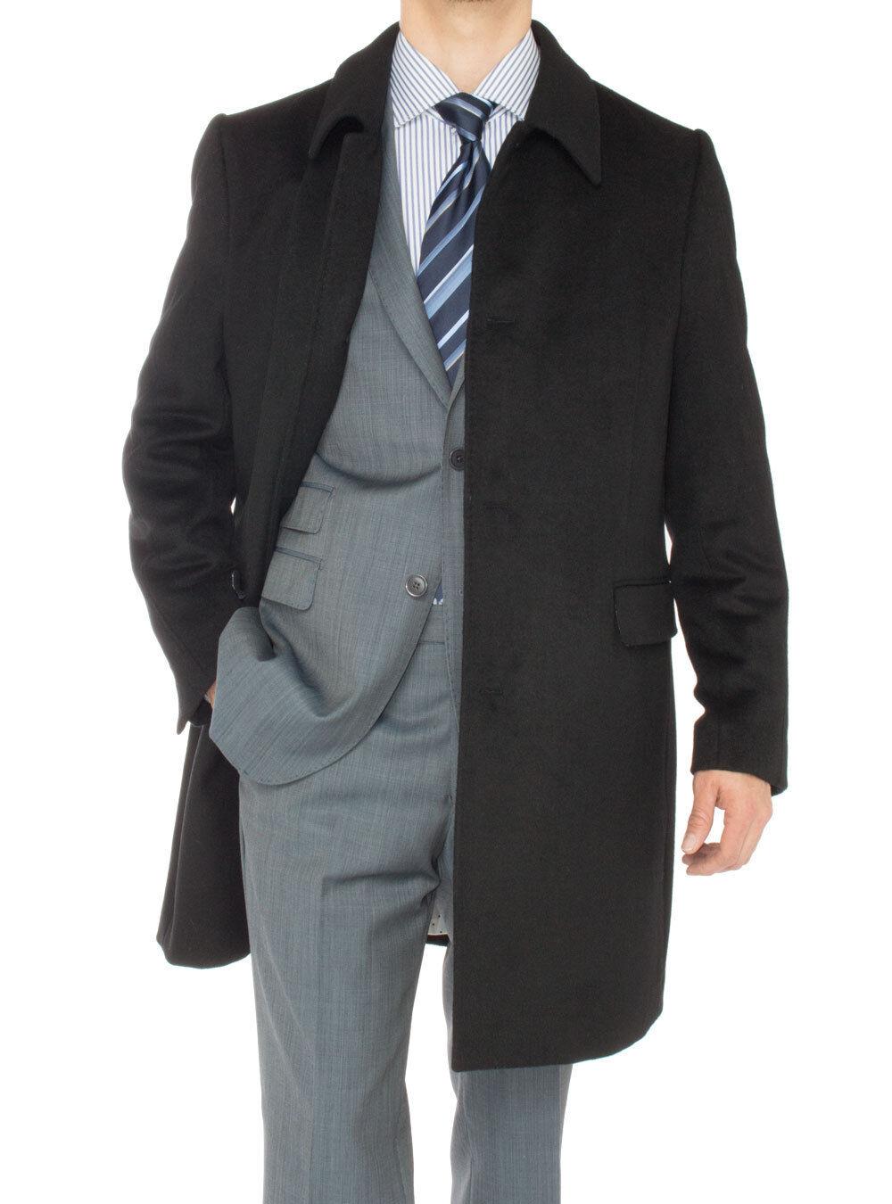 Luciano Natazzi  Herren Cashmere Topcoat Classic Knee Length Trench Coat Overcoat