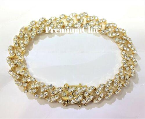 Mens Miami Cuban Link Bracelet VVVS Lab Diamond FULLY ICED Hip Hop Gold Plated