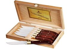 Laguiole 6-Piece Steak Knife Set Stainless Steel Knife Set Vintage Elegant Wood