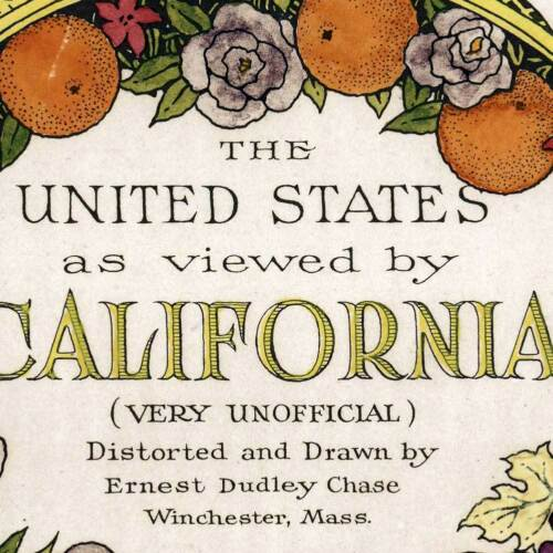 """/""""Unofficial/"""" Map of United States as viewed by California circa 1940-24/"""" x 32/"""""""
