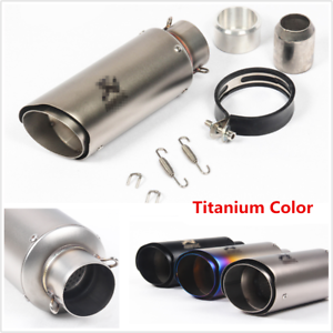 1x Universal Black Double-layer Motorcycle Muffler Tip Slip-on Exhaust Pipe 51mm