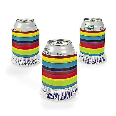 6pc Fiesta Cinco De Mayo Mariachi PONCHO BEER SODA CAN KOOZIES COOZIES coolies