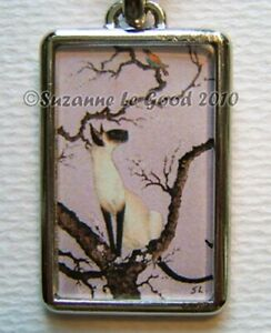 Siamese-cat-art-keyring-key-chain-charm-from-original-painting-Suzanne-Le-Good