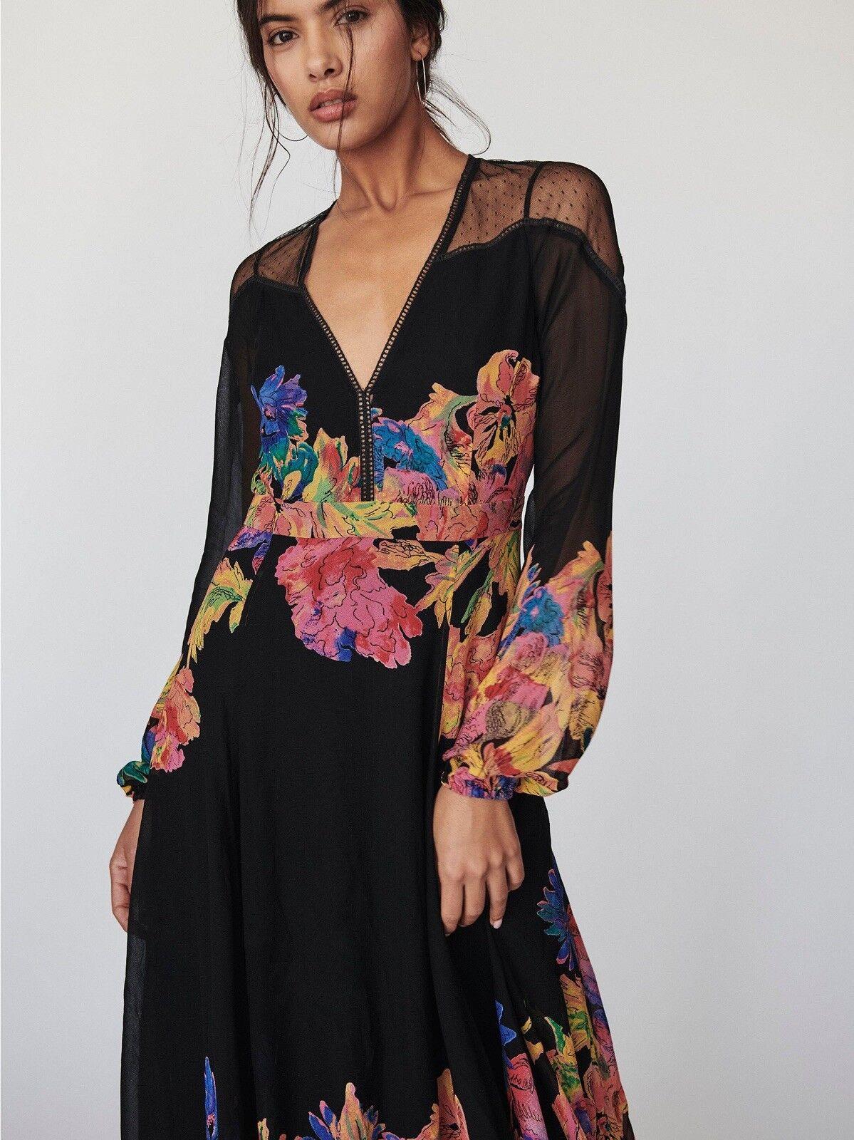 Free People  Bold Bloom Maxi Dress Size 0