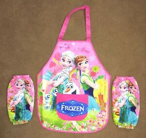 Frozen Anna Elsa 2 Layers Kids Young Girl Cooking / Painting Apron + 2 sleeves