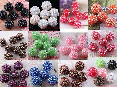 10pcs New Shiny Resin Rhinestones Crystal Round Spacer Beads U Choose Color&Size