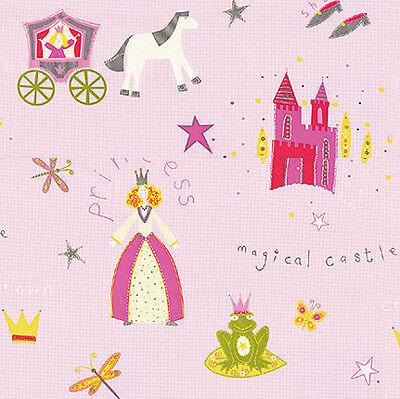 "SOFT COTTON 100% BEDDING CLOTHWORK GIRL BABY FABRIC CINDERELLA PRINCESS PINK 44"""