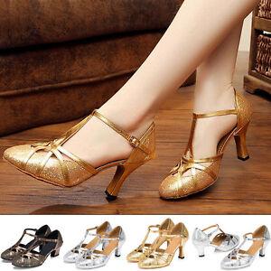 Womens-Latin-Salsa-Ballroom-Tango-Dance-Shoes-Lady-Closed-Toe-Ankle-Strap-Heels