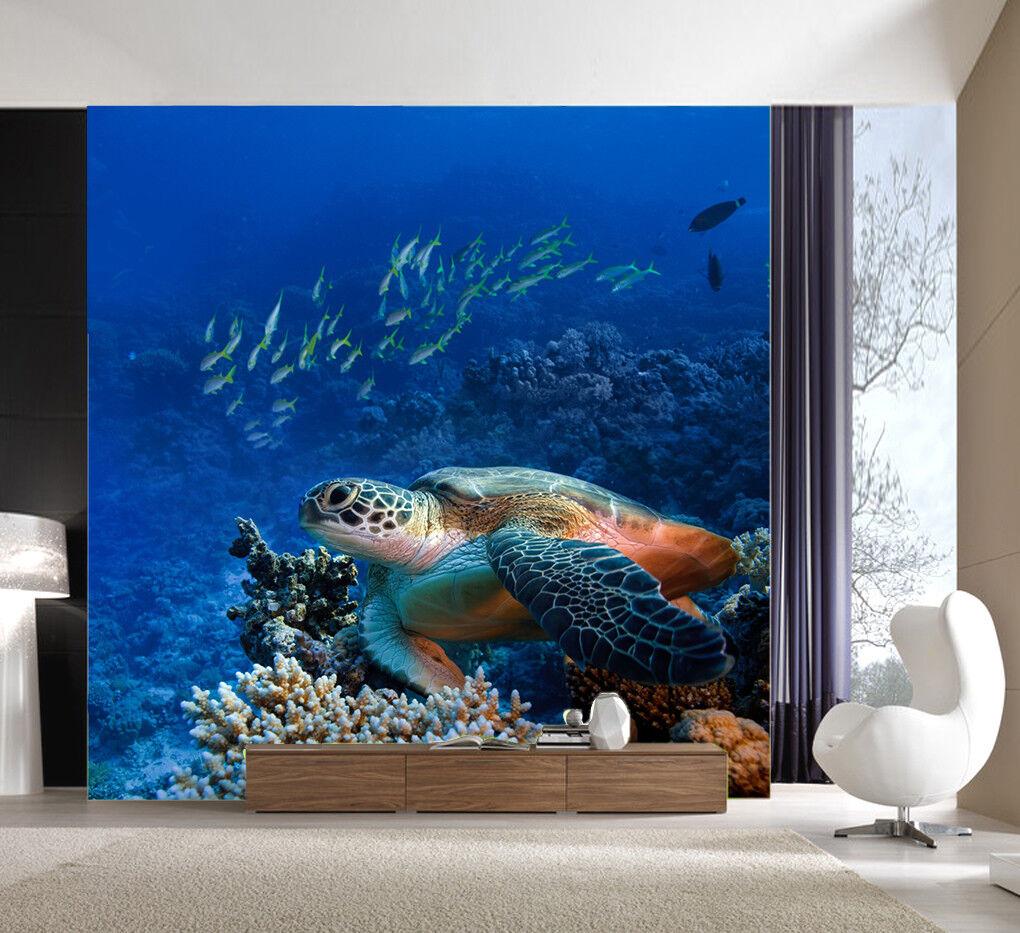 3D Blau Sea Turtle 74 Wall Paper Murals Wall Print Wall Wallpaper Mural AU Kyra