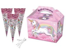 Magical Unicorn Party Food Boxes With Matching Cone Sweet Loot Favour Bags & Tie