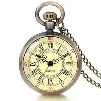 NEW Antique Vintage Bronze Tone Pendant Pocket Quartz Watch Chain Necklace Gift