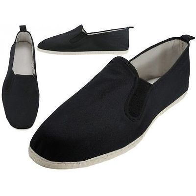 Sizes Easy USA Men/'s Canvas Slip-On Kung Fu Shoes-Cotton Soles-Black-New-Mult